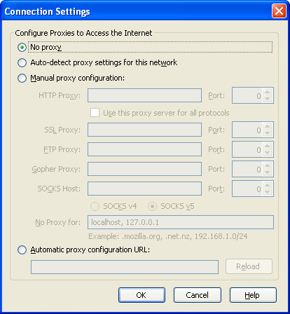 Mozilla Firefox network settings
