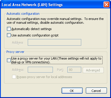 Internet Explorer local area network settings
