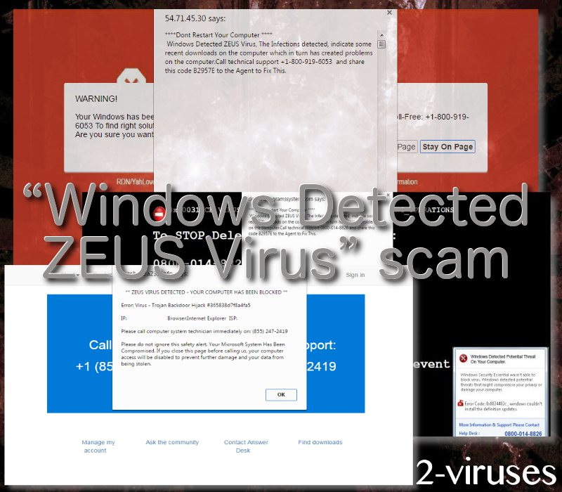 """Windows Detected ZEUS Virus"" scam"