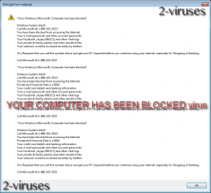 YOUR COMPUTER HAS BEEN BLOCKED virus
