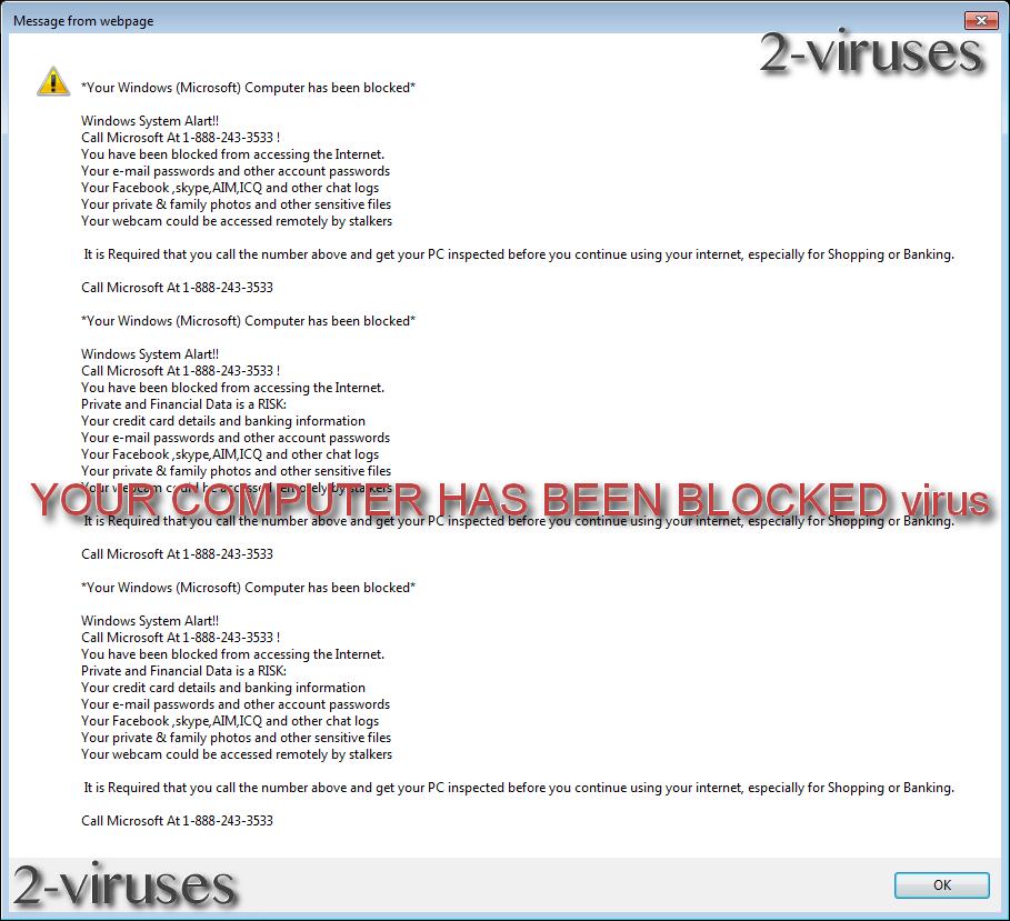 YOUR COMPUTER HAS BEEN BLOCKED virus remove