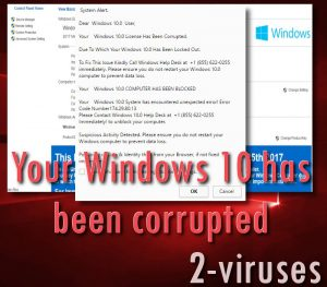 Svindelnummeret Windows 10 license Has Been Corrupted